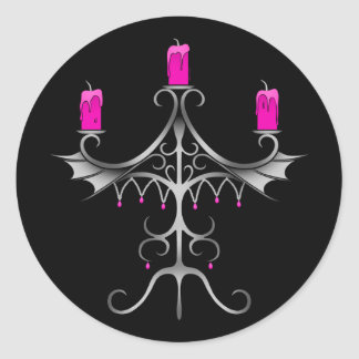 Fancy gothic candelabra hot pink on black round sticker