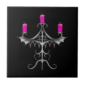Fancy gothic candelabra hot pink on black tile
