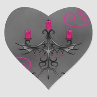 Fancy gothic candelabra in pink on gray grunge heart sticker