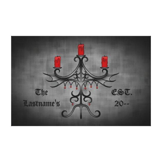 Fancy gothic candelabra on grey grunge canvas print