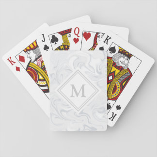 Fancy Gray Marble Look Diamond Monogram Playing Cards