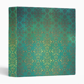 Fancy Green and Gold Damask 3 Ring Binders