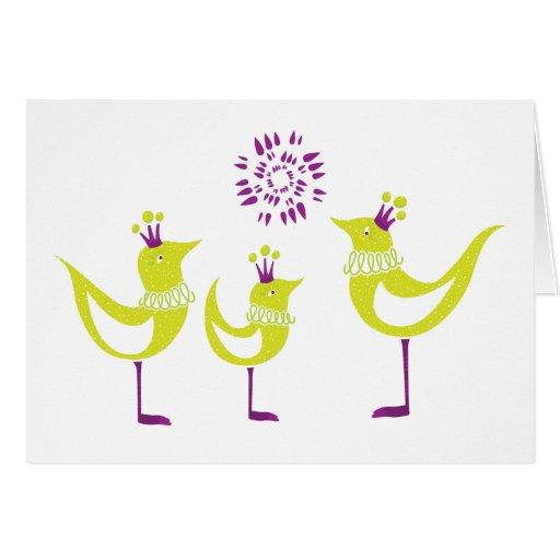 Fancy Green Bird Note Card