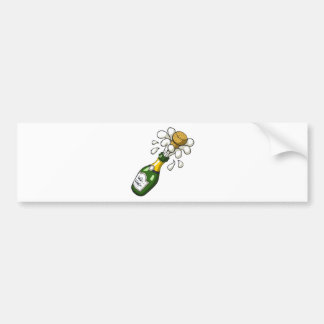 Fancy Green Cartoon Champagne Bottle Popping Cork Bumper Sticker