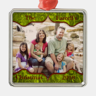 Fancy Green Fluer Family Holiday Ornament