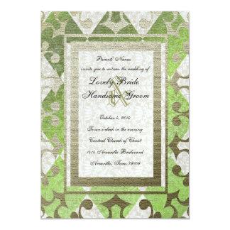 Fancy Green Gold Harlequin Medieval Wedding Card