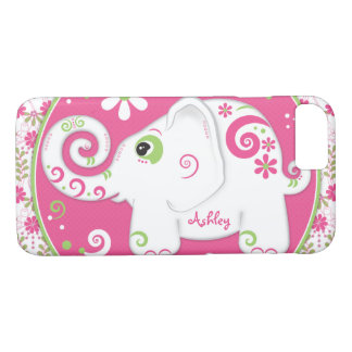 Fancy Green Pink Elephant Floral Case-Mate iPhone Case