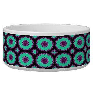 fancy green purple circle pattern pet food bowls