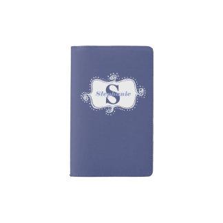 Fancy hand drawn white emblem Monogrammed Purple Pocket Moleskine Notebook