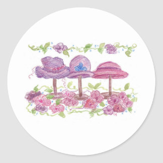 Fancy Hats and Flowers Classic Round Sticker