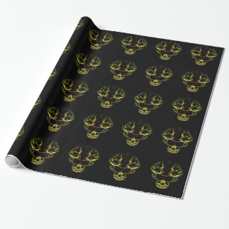 Fancy human skull wrapping paper