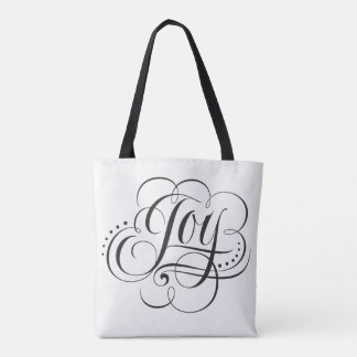 Fancy Joy to the World Christmas Calligraphy Tote Bag