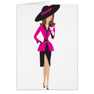 Fancy Lady and Puppy Card