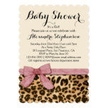 "Fancy Leopard Pink Bow Girl Baby Shower Invitation 5"" X 7"" Invitation Card"