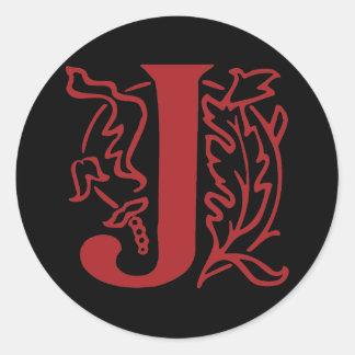 Fancy Letter J Round Sticker