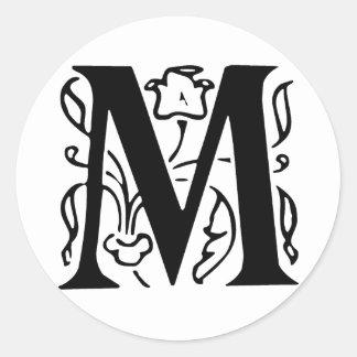 Fancy Letter M Classic Round Sticker