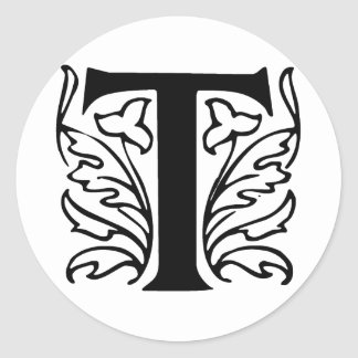 Fancy Letter T Classic Round Sticker
