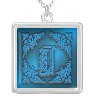 Fancy LetterJ Blue Initial Necklace