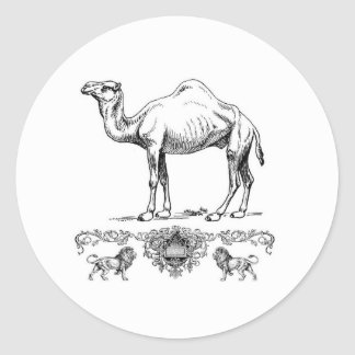 fancy lion camel classic round sticker