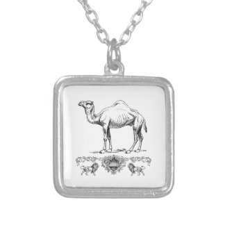 fancy lion camel silver plated necklace