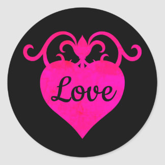 Fancy love heart classic round sticker
