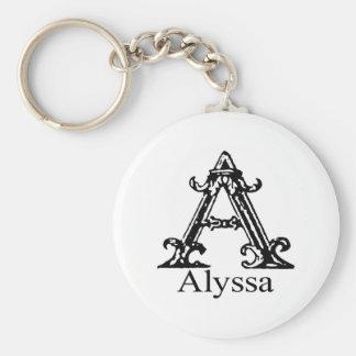 Fancy Monogram: Alyssa Keychain