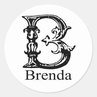Fancy Monogram: Brenda Round Sticker
