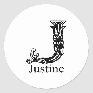 Fancy Monogram: Justine Classic Round Sticker