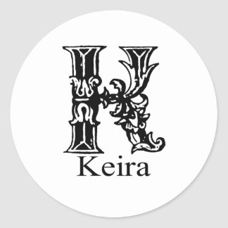 Fancy Monogram: Keira Classic Round Sticker