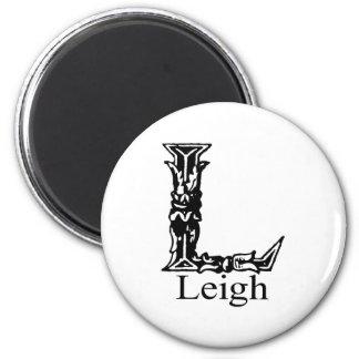 Fancy Monogram: Leigh 2 Inch Round Magnet