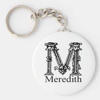 Fancy Monogram: Meredith Basic Round Button Keychain
