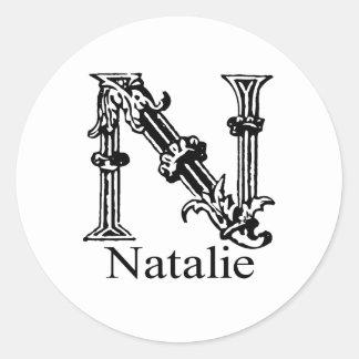 Fancy Monogram: Natalie Classic Round Sticker
