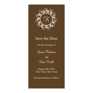 Fancy Monogram Save the Date (chocolate) Card