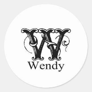 Fancy Monogram: Wendy Classic Round Sticker