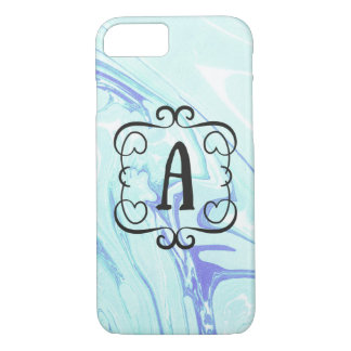 fancy monogram with marble letter A iPhone 8/7 Case
