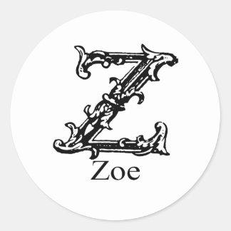 Fancy Monogram: Zoe Round Sticker