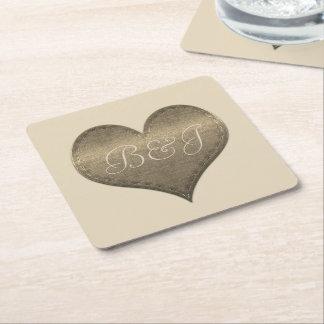 Fancy Monogrammed Shiny Heart Coaster