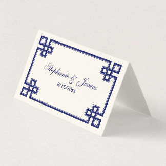 Fancy Navy Blue Greek Key Frame Escort Cards Ivory