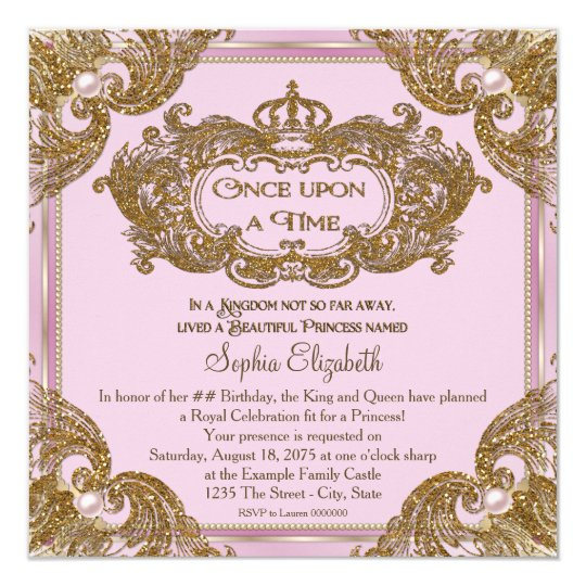 Fancy Once Upon a Time Birthday Party Card
