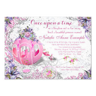 """Fancy Once Upon a Time Fairy Tale Birthday 4.5"""" X 6.25"""" Invitation Card"""