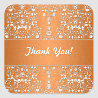 Fancy Orange Floral Damask Square Sticker