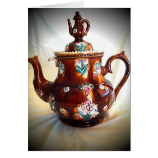 Fancy Ornate Antique English Teapot Coffee Pot Card