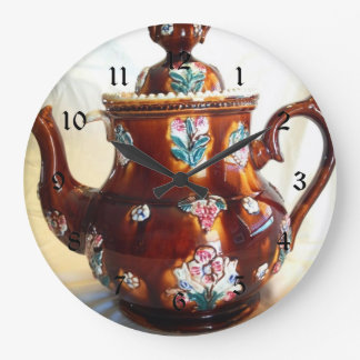 Fancy Ornate Antique English Teapot Coffee Pot Large Clock