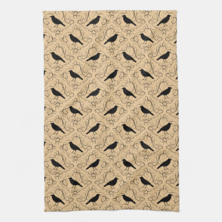 Fancy Pattern with Crows. Black and Beige. Kitchen Towel
