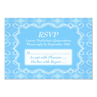 """Fancy Patterned Pastel Blue Quinceanera 3.5"""" X 5"""" Invitation Card"""