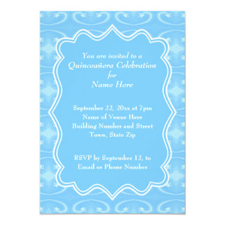 """Fancy Patterned Pastel Blue Quinceanera 5"""" X 7"""" Invitation Card"""