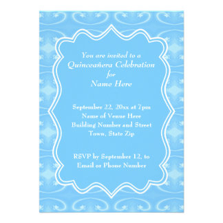 Fancy Patterned Pastel Blue Quinceanera Invite