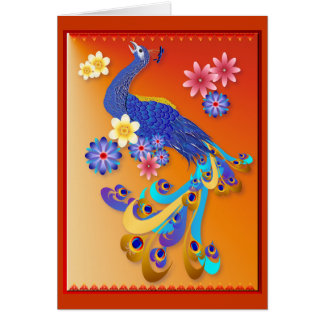 Fancy Peacock and Flowers Card