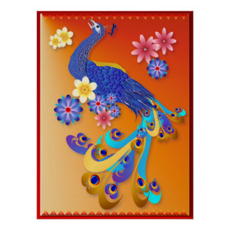 Fancy Peacock and Flowers Poster