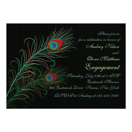 Fancy Peacock Feathers Black Invitation